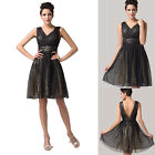 NEW Sparkly Sequins Chiffon XMAS Evening Formal Party Prom Gown Bridesmaid Dress