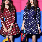 Vintage Women Heart Printed Sweet Summer Spring Party Casual Princess Mini Dress