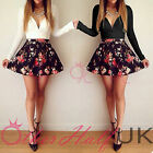 UK WOMENS CELEBRITY SEXY LOW V NECK FLORAL PLEATED SKATER BODYCON MINI DRESS