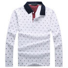 Spring Fall Mens Cotton Print Long Sleeve Pullover T-Shirt Slim Lapel POLO Shirt