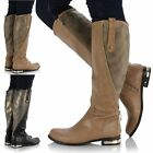 Ladies Womens Flat Knee Thigh High Zip Gold Metal Trim Riding Biker Boots Shoes