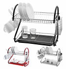 2 Tier Dish Drainer Rack Drip Tray Cutlery and Cup Rack Chrome Red Black