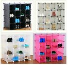 6 Durable Interlocking Storage Organiser Shoe Rack Add Clothing Hanger and doors
