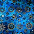 Celestial Batik, Metallic Gold & Black on Blue, Suns & Stars, Cotton Fabric