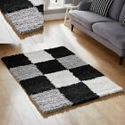 SMALL MEDIUM LARGE X-LARGE 5 CM THICK BLACK GREY DESIGN SHAGGY BEST COST RUGS