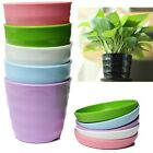 Colorful Plastic Round Flower Planter Pots With Tray Home Office Garden Decor