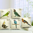1PC Lifelike Parrot Cotton Linen Pillow Case Sofa Throw Cushion Cover Home Decor