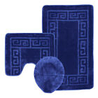 SQUARED LUXURY 3 PIECE LARGE BATH MAT & PADESTAL MAT SET NON SLIP MANY COLOURS