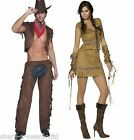 Couples Ladies & Mens Fever Cowboys & Indians Wild West Fancy Dress Costumes