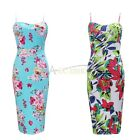 Womens Ladies Tropical Floral Peony Bodycon Sleeveless Pencil Midi Party Dress