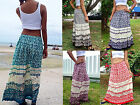LADIES LONG MAXI SKIRT-GYPSY-BOH0-SUMMERWEIGHT-ELEPHANT DESIGN-VARIOUS COLOURS