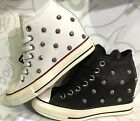 Converse Chuck Taylor All Star Platform Plus Black White Leather Women Shoes