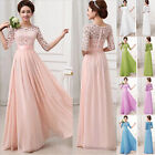 Summer Beach Vintage Lace Chiffon Long Maxi Evening Cocktail Party Wedding Dress