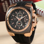 Men's Quartz Silicone Strap Stainless Steel Rose Gold/Silver Dial Wrist Watches