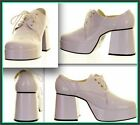 MENS WHITE 1970S STYLE PLATFORM FANCY DRESS PIMP GLAM ROCK SHOES SIZE 8 9 10 11