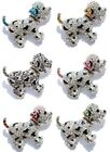 Spotted Puppy Dog Colored Crystal Black Enamel Silver Plate Pin Brooch   BOXED