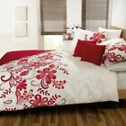SUPERB RED & CREAM DUVET COVER SET .NEXT DAY DELIVERY