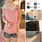 New Women One Shoulder Floral Crochet Knit Splicing Loose Casual Sweater    IUK