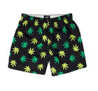 HUF Plantlife Marijuana Weed Pot Leaf Men's Boxer Shorts-Black/Green