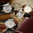 Ks Automatic Mechanical Men's 6 Hands Date Day Brown Black Leather Wrist Watch