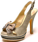 New women's shoes high heel peep toe sling backs beige camel work fashion casual