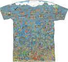 Where's Waldo? Wally Detailed Scene Licensed NWT Adult T-Shirt - Blue