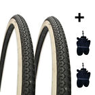 PAIR OF 26 X 1 3/8 BIKE CYCLE ROAD TYRES BLACK WHITE NEW + 2 INNER TUBES BICYLE