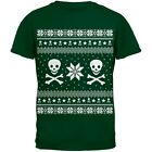 Skull & Crossbones Ugly Christmas Sweater Green Youth T-Shirt Top