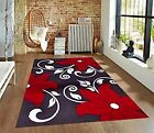 RUGS AREA RUGS CARPET 8x10 AREA RUG MODERN LARGE FLORAL RUGS BLACK RED WHITE NEW