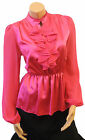 Hot Pink Liquid Satin Chiffon Secretary Governess Ruffle Shirt Tunic Blouse