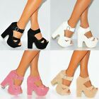 CRISS CROSS CHUNKY WEDGED PLATFORMS WEDGES HIGH HEELS ANKLE STRAP SHOES SIZE 3-8