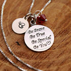 Sterling Silver Personalise Inspirational Round Pendant Necklace Birthstone /Box