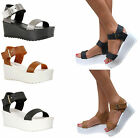 LADIES WOMENS LOW MID BLOCK HEEL ANKLE STRAP WEDGE SANDAL PLATFORM FLATFORM SHOE
