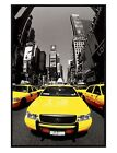 New York City Gloss Black Framed Yellow Cabs Maxi Poster 61x91.5cm