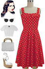 50sStyle PLUS SIZE TRUE RED w/Big POLKA DOTS Fold Over Bust PEGGY SUE Sun Dress