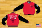 NBA JH Design Chicago Bulls Wool Jacket made in USA  Handmade Red Black sleeves