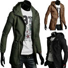 Mens Casual Hooded Overcoat Outerwear Slim Fit Long Jacket Trench Military Coat