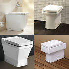 TOILET WC BACK TO WALL BATHROOM BATH CERAMIC WHITE SOFT CLOSING SEAT