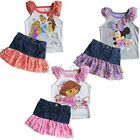 Minnie Mouse Dora Princess Girls Kids T-shirt Top+Denim Dress Skirt Outfit 2T-5T