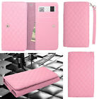 QUILTED Light Pink Faux Leather Wallet Pouch Cover Case For ZTE Phones