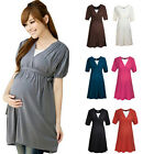 7 Colors 3 Sizes Pregnant Women's Sexy V-neck Short-sleeve Maternity Dress NEW