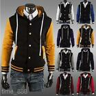 8Colors Men's Fashion University Hoodie Baseball Coat Cardigan Overwear MWK026