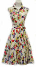 New 1940's 1950's Style Classic English Floral Shirt Tea Dress by Rosa Rosa