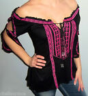 New Bohemian EMBROIDERED Off Shoulder PEASANT Tunic BEAD TIE Top Shirt BOHO SML