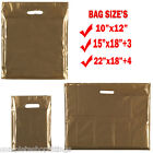 100x GOLD HEAVY DUTY COLORED PLASTIC CARRIER BAGS PARTY GIFT BAGS IN 3 SIZES