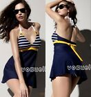 Padded Women Swimsuit Swimdress Navy Blue Monokini Swimwear M/L/XL Brand New