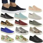 WOMENS LADIES SKATER TRAINERS FLAT SLIP ON PLIMSOLLS SCHOOL GYM PUMPS SHOES SIZE