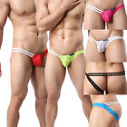 Sexy Mens Underwear Thongs Stripes Breathable Mesh G-sting Underpants M L XL