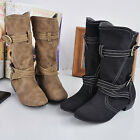 New Women's Fashion Boots Spring & Autumn Buckle Boots 2 Colors XWX681