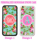 CORAL PINK SHABBY CHIC FLORAL TEAL MONOGRAM CASE FOR IPHONE 6 6S Advantage SE 5S 5 5C